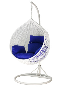 Harga Amber Initial White Rattan Swing Chair with Blue Cushion Cover
