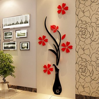 Harga Red 3D Bat Wall Stickers 12Pcs - intl