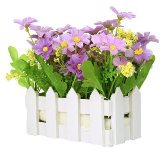 Harga leegoal Artificial Flowers Small Potted Plant Fake Chrysanthemum Set In Picket Fence,blue - intl