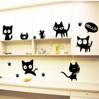 Harga Removable wall stickers children's room bedroom living room dining room dorm decor cute cat shop window display