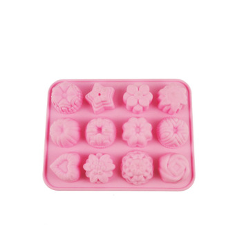 Harga 12 even flower-shaped flowers and jelly pudding silicone mold chocolate mold Snowy moon cake mold-resistant high temperature