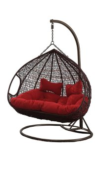 Harga Amber Double Coffee Rattan Swing Chair with Red Cushion Cover