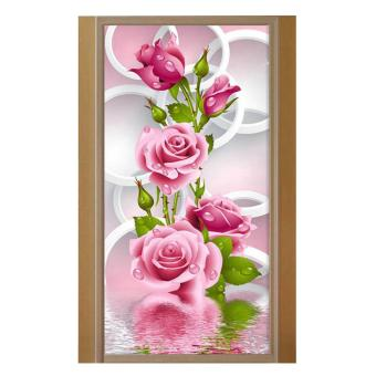 Harga 5D DIY diamond Painting Rose Flower Embroidery Diamonds Wall Stickers Decor - intl