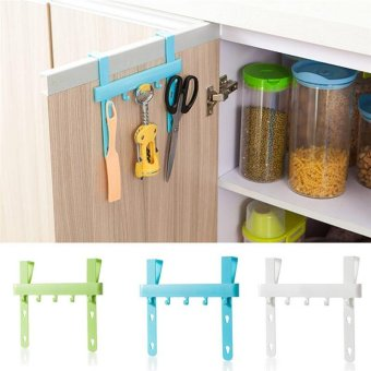 Harga Quality Door Rack Hooks Kitchen Hanging Storage Hanging Holders Accessories Hanging Door Rack Holder-White - intl
