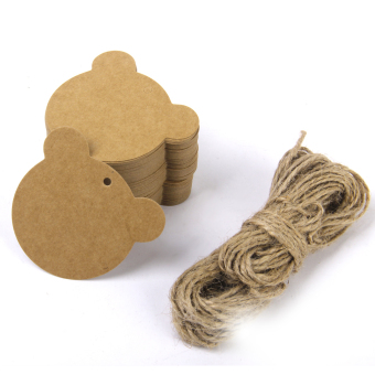 Harga Kraft Paper Card Hand Draw Gift Tags Bear Price Label Luggage Tags 100pcs Brown
