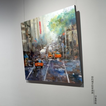 Harga New york city office cafe paintings decorative painting the living room bedroom significant paintings frameless painting impression of the city