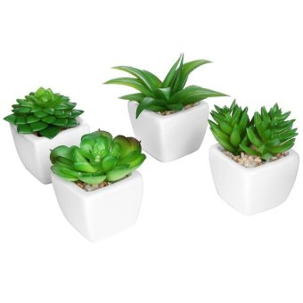 Harga Set of 4 Modern White Ceramic Mini Potted Artificial Succulent Plants / Faux Plant Home Decor - Intl