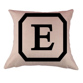 BolehDeals Cotton Linen Throw Pillow Case Cushion Cover Home Decor Initial Letter E(Export)