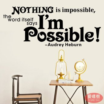 Nothing is impossible in english proverbs wall stickers restaurant sofa bedroom wallpaper decoration wall stickers