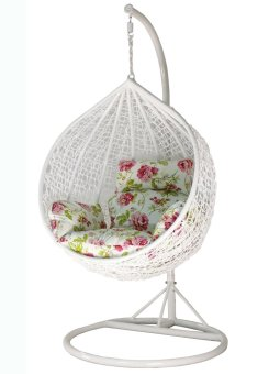 Harga Amber Initial White Rattan Swing Chair with Peony Flower Cushion Cover