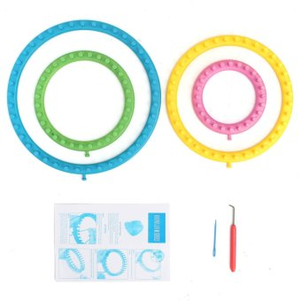 Harga Knitting Looms 4 Ring Sock Scarf Hat Set Maker Craft Kit Make Knitted Round Knit - intl