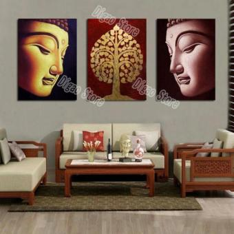Harga 3 Pcs/set modern buddha hand painted oil painting on canvas for living room decoration