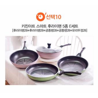 Harga Kitchen Art Korean Best-Selling 5 Ply Diamond Coating Smart Stir Frying Pan and Wok Set E. - intl
