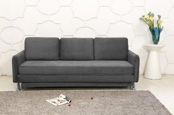 Harga Cozy 3 Seater Grey Pull Out Sofa Bed (YZ138)