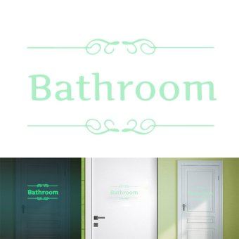 Harga BATHROOM Luminous Door Wall Sticker Fluorescent Funny Toilet Door Decor - intl