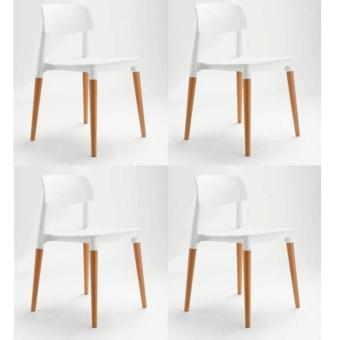 Harga Modern Design Dining & Leisure Chair Set of 4 (White)(White)