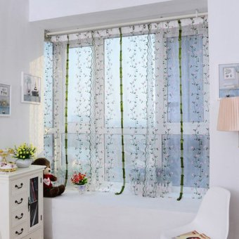 Harga Flower Color Tulle Door Window Curtain (Pink Flowers) (EXPORT)