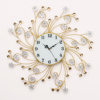 Harga Seoul mute pocket watch silver flower crystal diamond beautiful european minimalist modern living room bedroom creative wrought iron wall clock