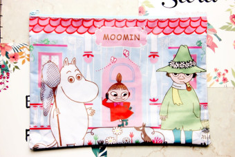 Harga New korea lovely moomin cartoon tsum multilayer waterproof oxford cloth paper bags student stationery zipper bag
