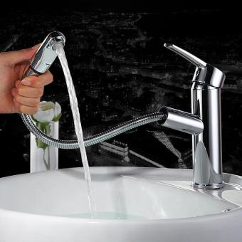 Harga New Single Hole Bathroom Faucet Pull Out Bathroom and Kitchen Faucet Mixer Cold and Hot Faucet - intl