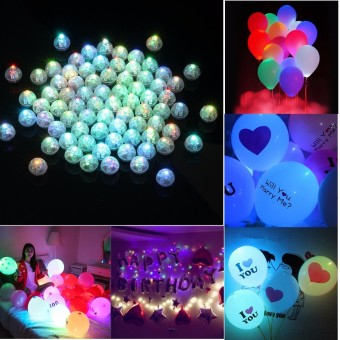 Harga 50pcs LED Light Bulb Paper Lantern Ballon Birthday Christmas Party Decor - intl
