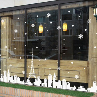 Harga White snowflake eiffel tower town shop glass stickers window stickers cozy children's room decorative wall stickers