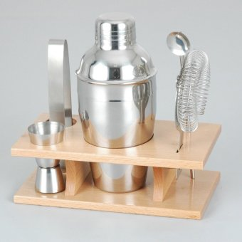 Harga 350ml Stainless Steel Cocktail Shaker Mixer Drink Bartender Martini Tools Bar Set Kit (Slivery) (EXPORT)