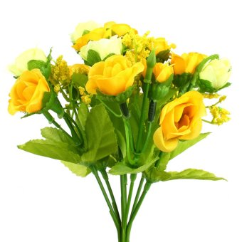 Harga Mini Rose Artificial Silk Flower Bride Home Decoration Bouquet(Yellow)