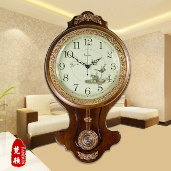 Harga Pastoral simplicity european antique wood living room wall clock fashion quartz watches and clocks creative large swing clock