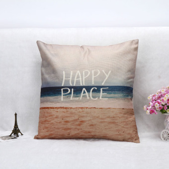 Harga Customized English Letters Happy Place Cushion no filling Lumbar Pillow Office Sofa Home Decorative 45cm*45cm