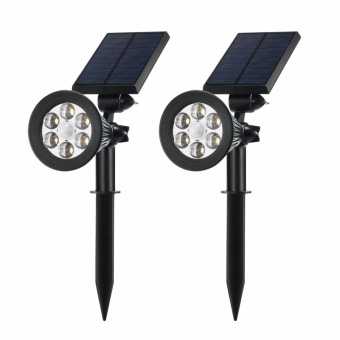 Harga Solar Spotlights Outdoor,Upgraded Motion Sensor Solar Powered Security 6 LED Landscape Light, Auto On/Off Waterproof Wall Tree Light for Patio Porch Path Deck Garden Garage Driveway (2-pack) - intl