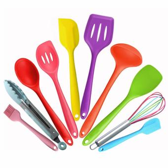 10 Piece Silicone cooking utensils,Heat Resistant Multicolor Kitchen Cooking Set Including Brush, Tongs, Spoon, Spatula, Slotted turner, ladle, Whisk - intl
