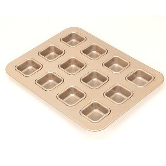 Harga Champagne gold 12 square brownie mold mini cake mold bread mold non stick baking tray