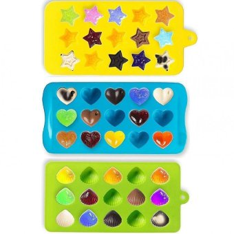 Harga Candy Molds & Ice Cube Trays - Hearts, Stars & Shells - Silicone Chocolate Mold - Fun, Toy Kids Set - Use for Cakes, Chocolate, Ice Cream, Tarts, Muffins, Candles, Soaps, Jello, Mousses (Export)
