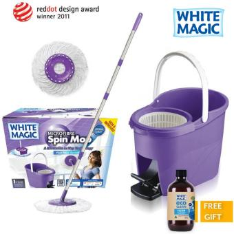Harga White Magic Foot Press Spin Mop Set + FREE Eco Clean Floor (500ml)
