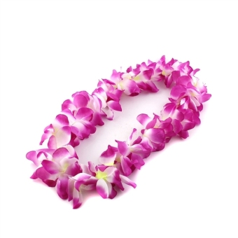 Fashion Hawaii Tropical Hula Grass Dance Flower Necklace Garland (Rose Red)