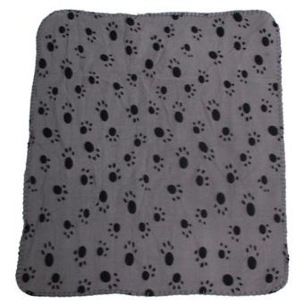 Hang-Qiao Paw Print Soft Warm Fleece Pet Blanket Dog Cat Bed Mat Grey