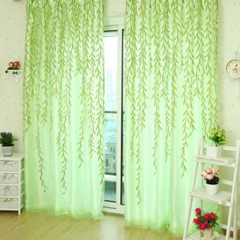 Jetting Buy Tree Willow Curtains Blinds Voile Tulle Room Curtain Sheer Panel Drapes Green
