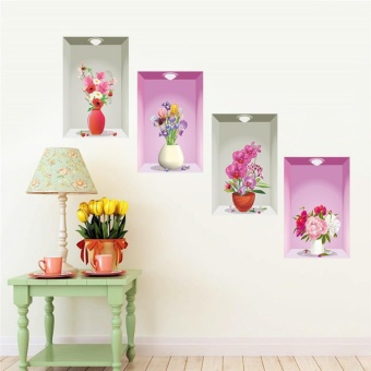 JinGle 3D Simulation Flower Vase Wall Stickers Decor PVC Removable Home Wallpaper DIY - intl