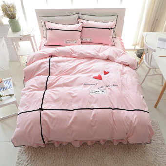 koreanstyle cotton bed skirt embroidered quilt cover