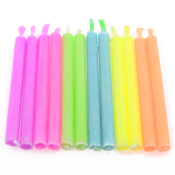 LT365 Birthday Cake Candles with Colored Flames 12 Pack Colorful