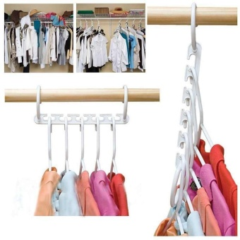Magic Clothes Hanger Space Saving Saver Wonder Closet Organizer 5 Hole Holder - intl