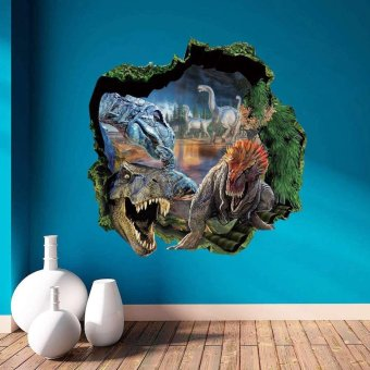 New Fashion 3D Floor Wall Stickers Removable Mural Decal Art Living Room Home Decoration Dinosaur primeval forest PVC - intl