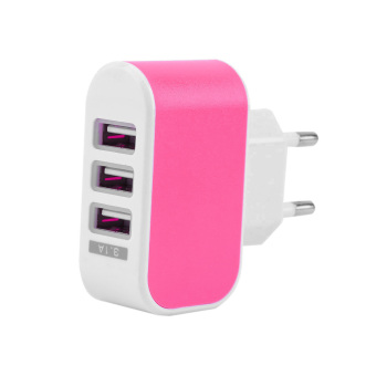 OH Triple USB Port Wall Home Travel AC Power Charger Adapter 3.1A EU Plug Rose Red