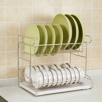 One reinforced 304 stainless steel dish rack double drain water dish rack kitchen shelf storage racks Put dishes rack