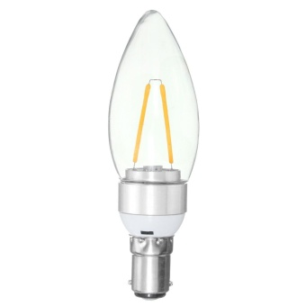 Silver shell tip bubble is not adjustable 110V 2W 2led Edison candle light filament lamp home lamp 180-200LM 180 degree light Warm White B15 - intl