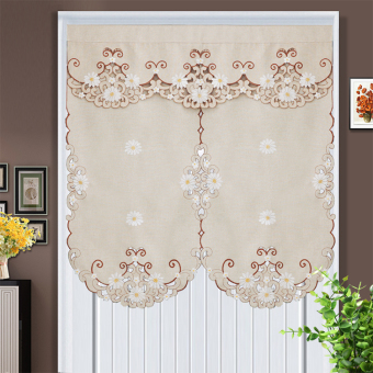 Modern minimalist fabric embroidered blackout curtain fabric short curtain door curtain