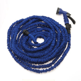 Yika Expandable Flexible Garden Water Hose Pipe Car Washing Spray Nozzle Blaster 75FT (Blue)