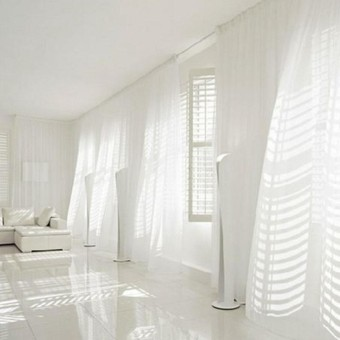 YUNMAI Transparent Voile Partition Curtain Tulle Curtains for Living Room Balcony Bedroom White 1*2