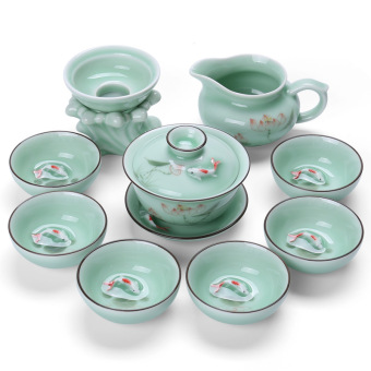 Zhoeng pure hand painted Celadon Dutch rhyme tea set whole set KungFu tea cup ceramic teapot cup